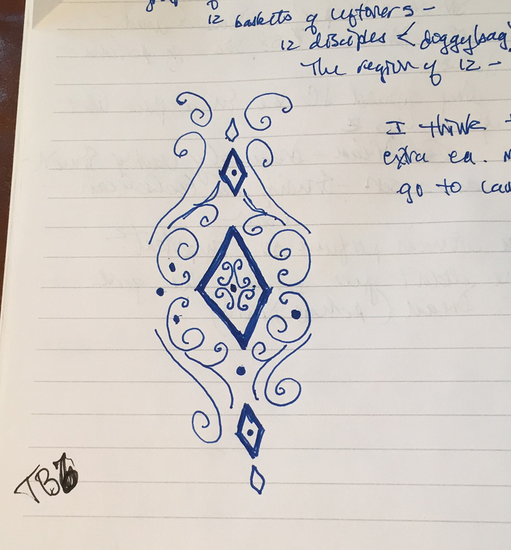 Doodle of Vintage Jewel from my journal -fall 2014.