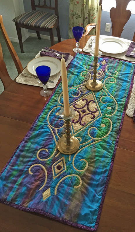 "Vintage Jewel table runner VI (18"" x 48"") hand"