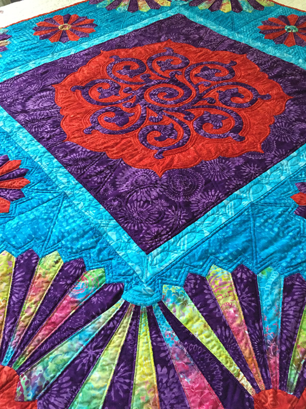 "Fan the Flame Quilt VIII  (50"" x 50"") ""Stoke the Fire of your Passions"""