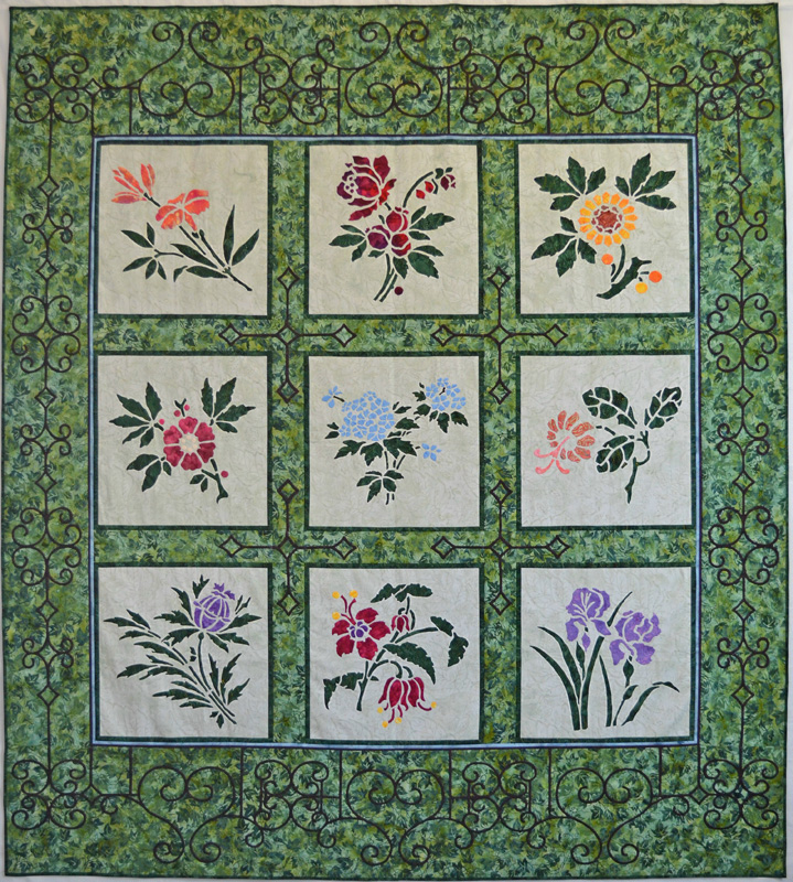 "Victorian Flower Garden Quilt IV (74"" x 82""). hand or machine reverse applique"