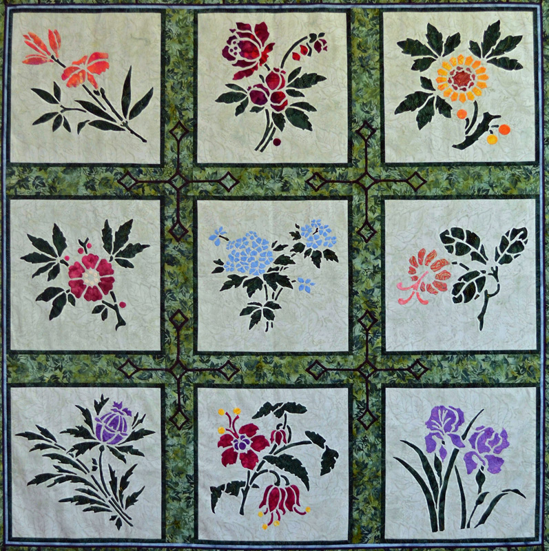 Lily, Rose, Sunflower, Apple Blossom, Forget-Me-Not, Trumpet Vine, Thistle, Fuchsia and Iris flower blocks.