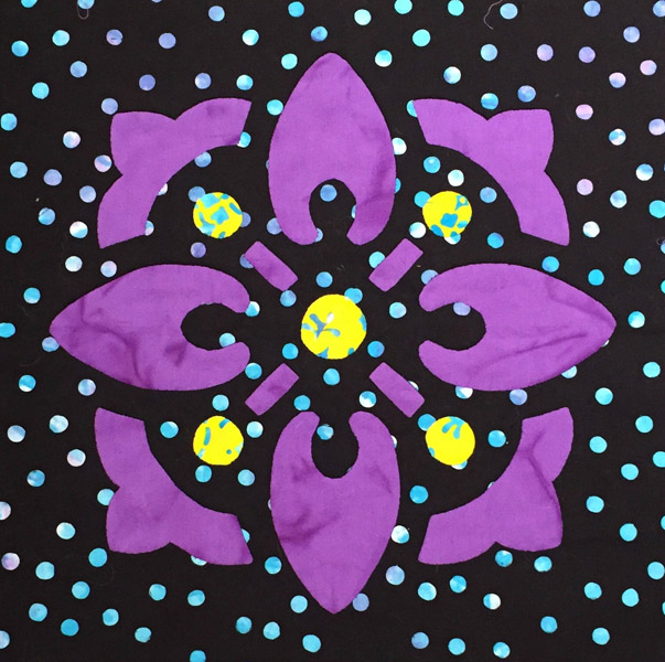 "Block 10 (12"" x 12"").  Reverse applique with appliqued spots of color."