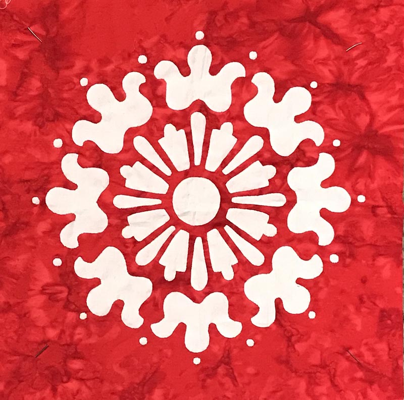 "Red & white version of Block 8 from Midnight Explosion Quilt VII (95"" x 95""). This one done completely as reverse applique."