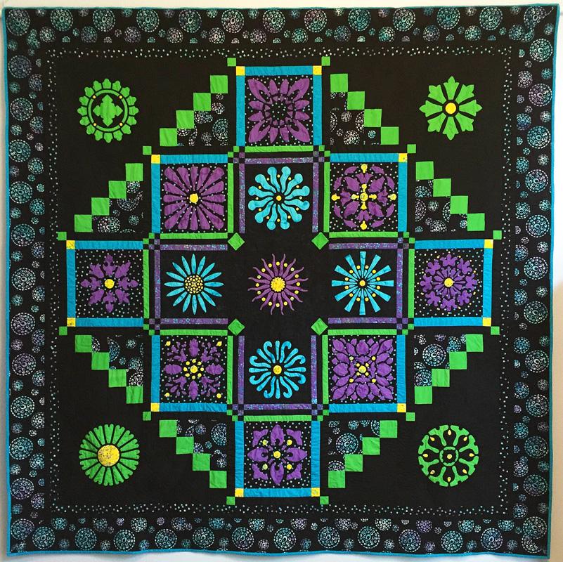 "Midnight Explosion Quilt VII (89"" x 89""). Hand or machine reverse applique with applique, machine pieced. Designed for Batik Textiles Fall 2016."