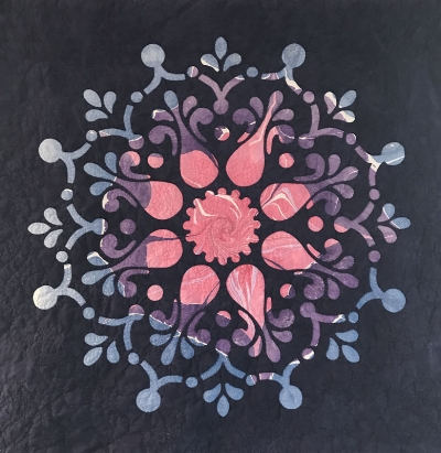 """Remembrance, Medallion XIV (36"""" x 36""""). hand or machine reverse applique. top fabric by Cherrywood Fabrics, background fabric by Paula Lavender."""