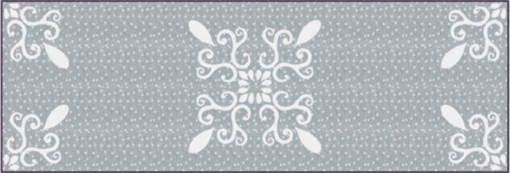"Chantilly Lace table runner XV   (20"" x 60""). Hand or machine reverse applique. Designed for Batik Textiles, fall 2017."