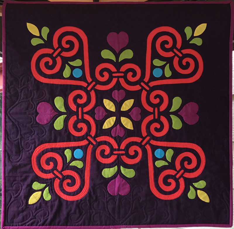"Sweetheart Sorbet, Medallion XII (26"" x 26"") . hand or machine reverse applique with applique"