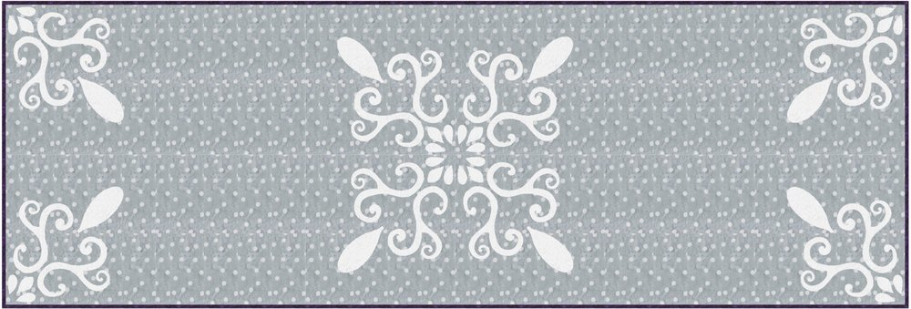 "Chantilly Lace, table runner XIV (20"" x 60"") simple elegance in stunning gray and white for hand or machine reverse applique. designed for Batik Textiles, fall 2017."