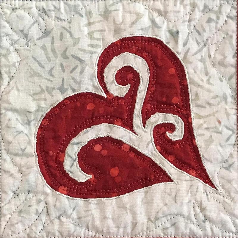 "Heart block  (6"" x 6"") from   Snowy Hearts table runner IX."