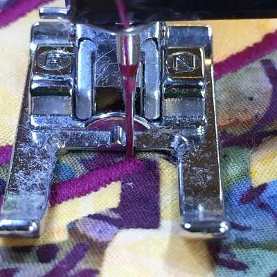 3. Lower presser foot. You are ready to sew.