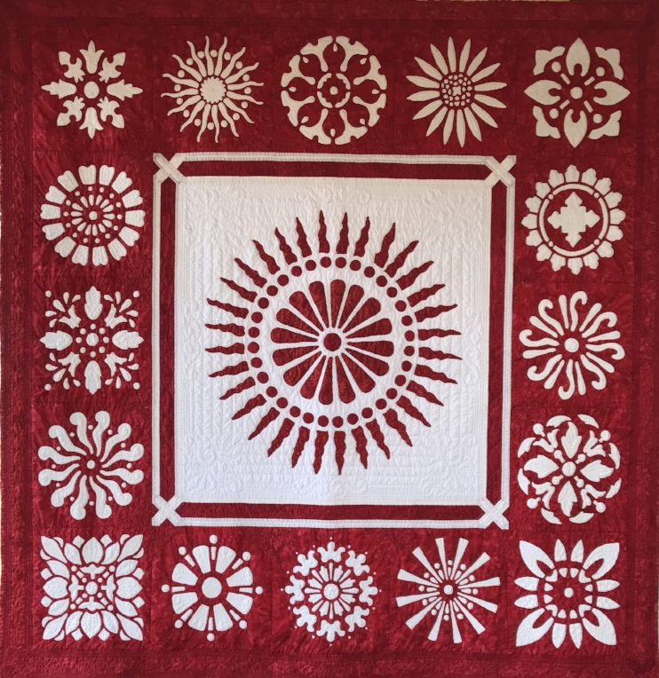 "Red & White Explosion Quilt (66"" x 66""). Just back from Road to CA 2018 quilt competition."