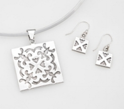 Sterling Silver Spring Love large pendant and earrings.