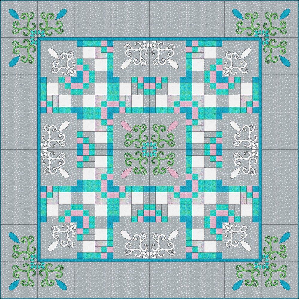 "Spring Breeze Quilt XII (98"" x 98"") for hand or machine reverse applique, applique and machine piecing. Designed for Batik Textiles Spring 2018."