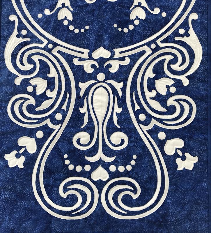 """Eternal Spring, table runner VII    (18"""" x 43""""). hand reverse applique. Designed for RJR Fabrics."""
