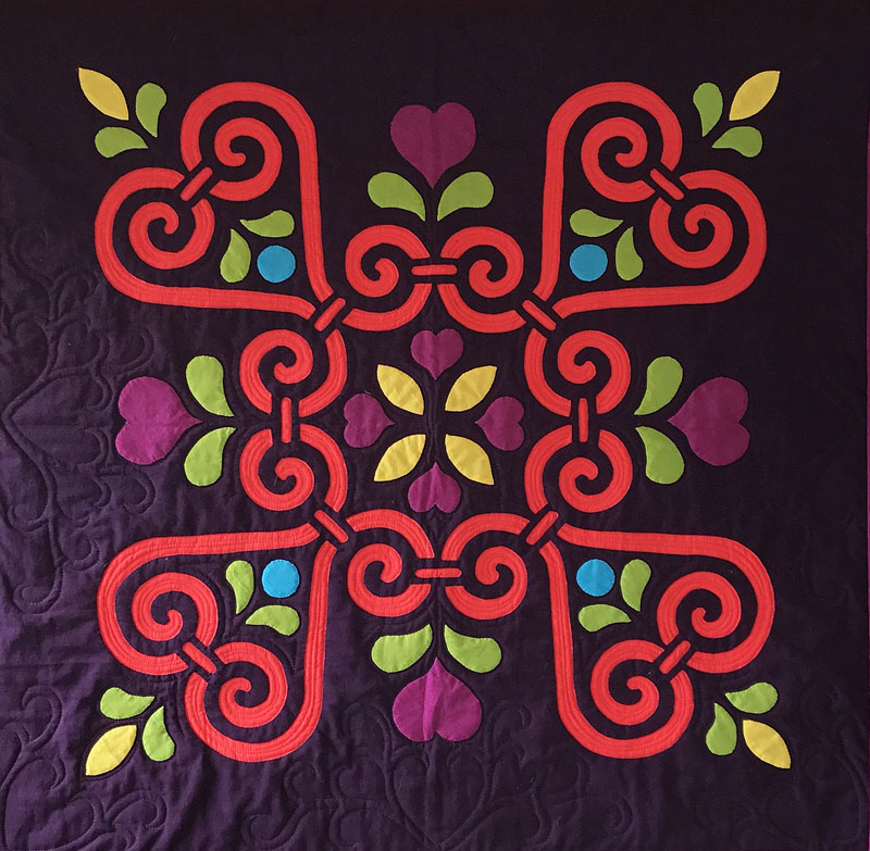 "Sweetheart Sorbet: Medallion XII    (26"" x 26"") for hand or machine reverse applique and applique. New fall 2017 in hand dyes by Stipples, Etc."