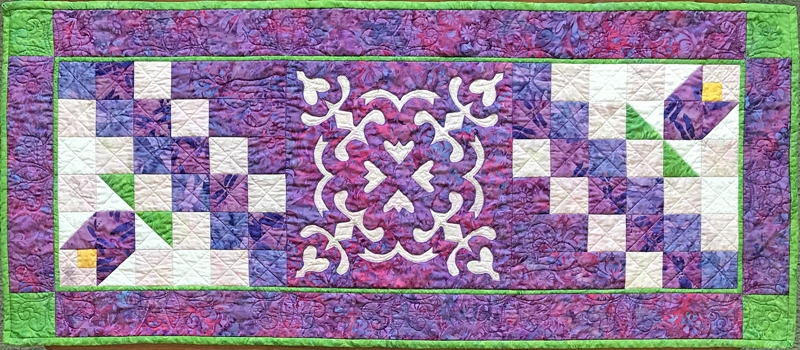 "Flowers in the Wind table runner XV    (18"" x 42"")"