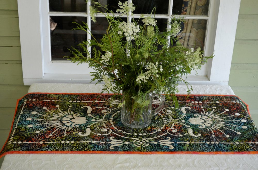 """Victorian Urn table runner I   (18"""" x 42"""") for Hand reverse applique."""