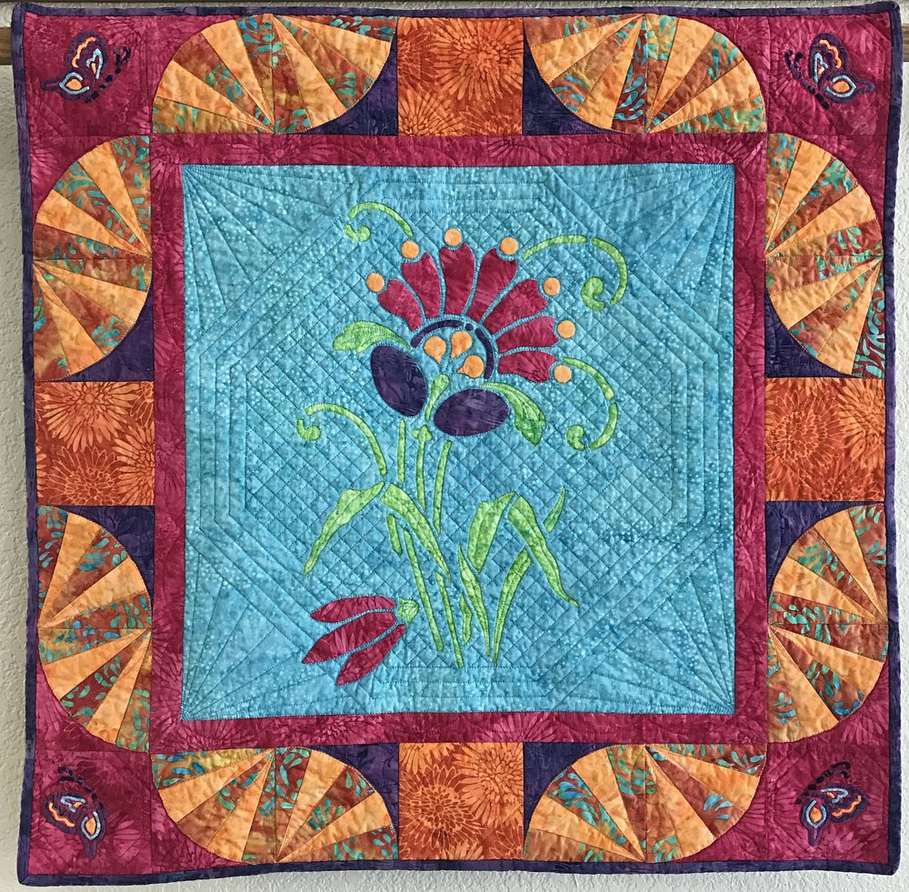 """Amidala's Flower mini-quilt X   (28"""" x 28"""") for hand or machine reverse applique with applique."""