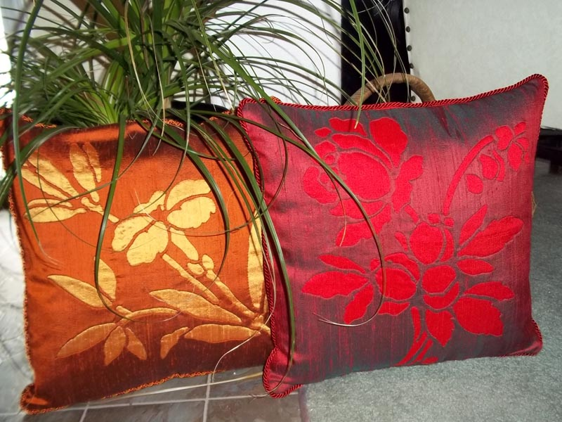 """Lily & Rose   Flower pillows (16"""" x 16"""") in silk. Hand or machine reverse applique."""