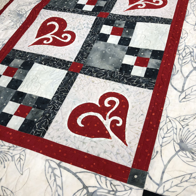 "Snowy Hearts table runner IX ( 21"" x 35"")"