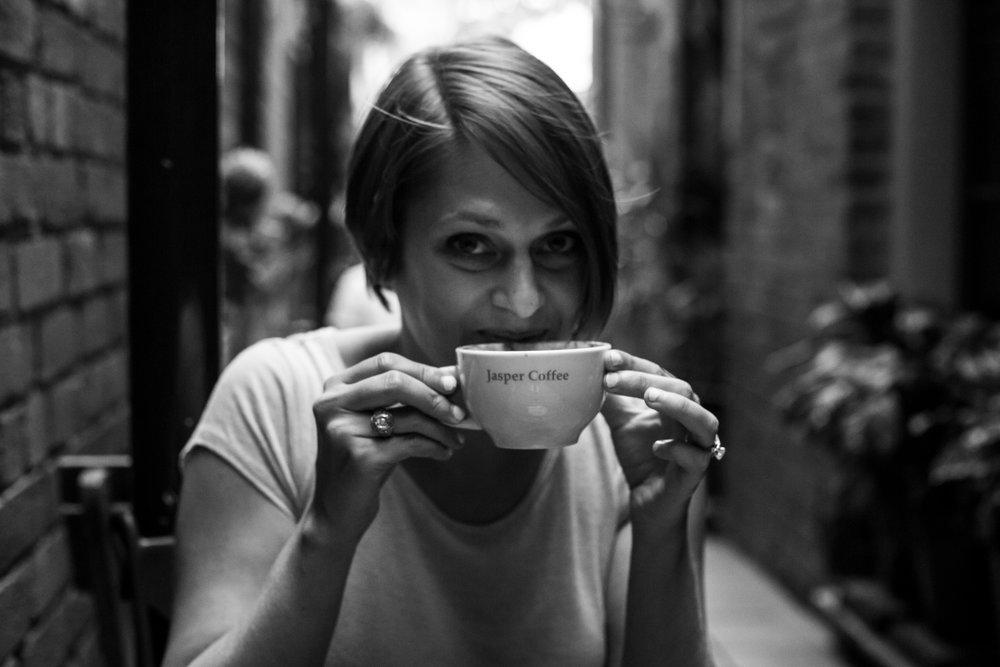 christina drinking coffee
