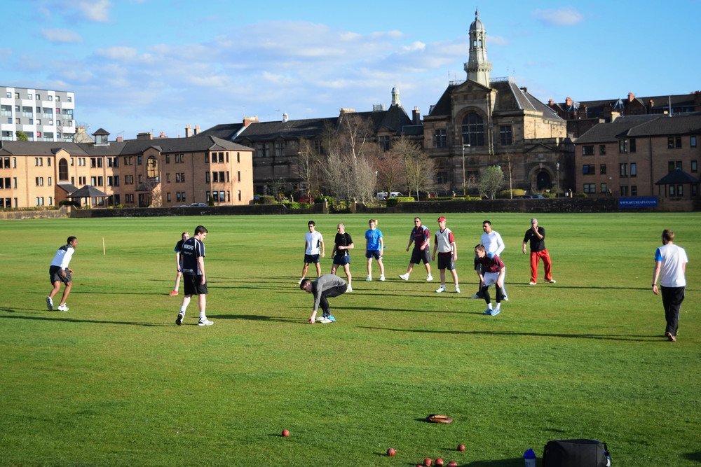 West of Scotland players warm up in the sunshine!