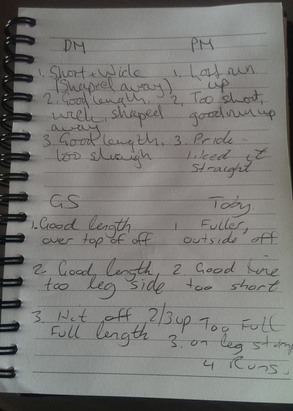 Example of self-reported bowling notes