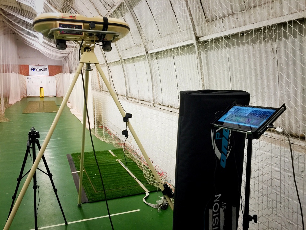 West of Scotland Cricket Club bowling machine and PitchVision ready for a cricket training session