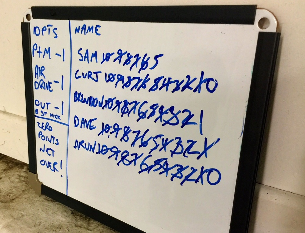 Keeping score adds pressure to net practice. All from a whiteboard.