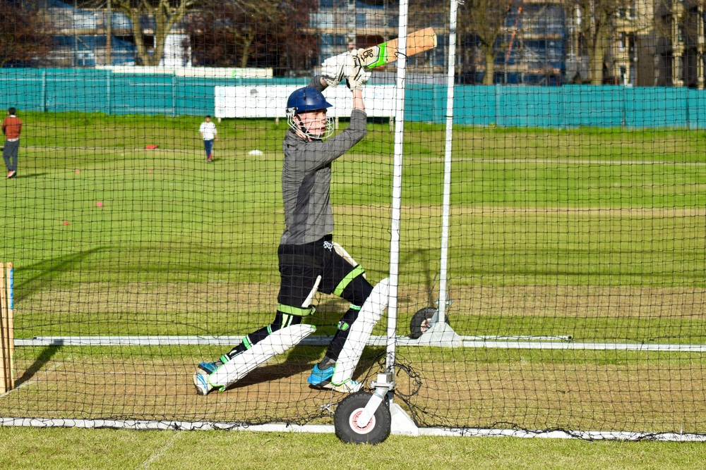 West of Scotland and Western Warriors player, Gavin Smith at cricket nets