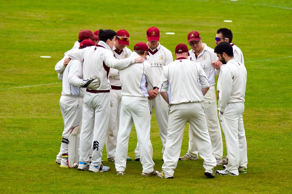 West of Scotland Cricket Club 1st XI in the pre-match huddle.