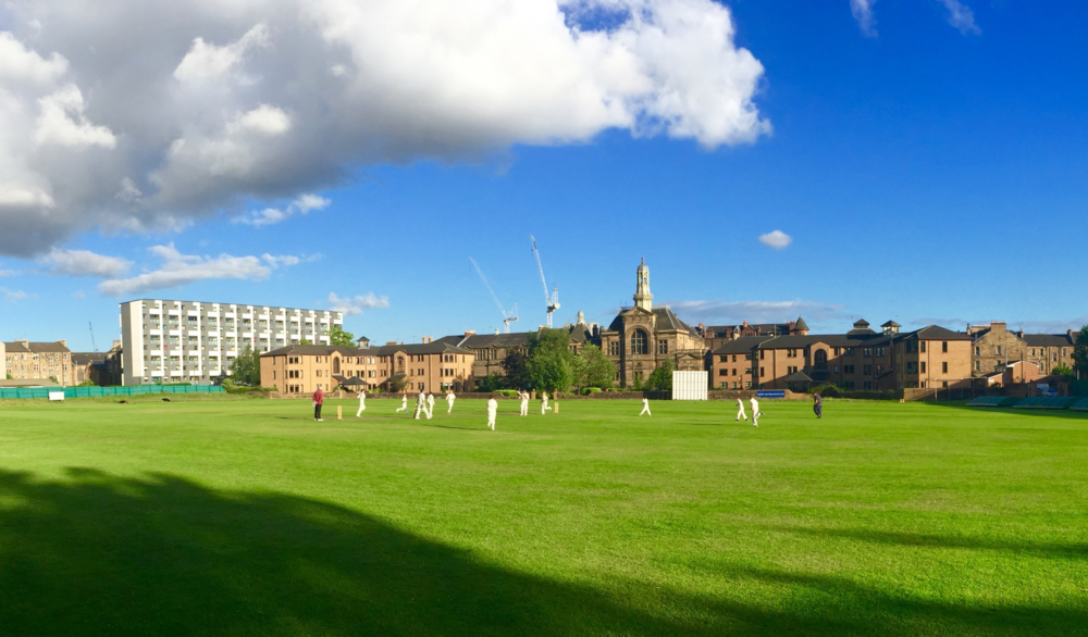A panorama of West of Scotland Cricket Club's ground.