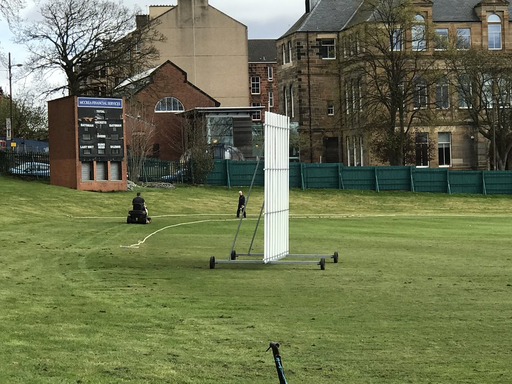 The boundary rope gets put out for West of Scotland CC's first game of cricket in 2017