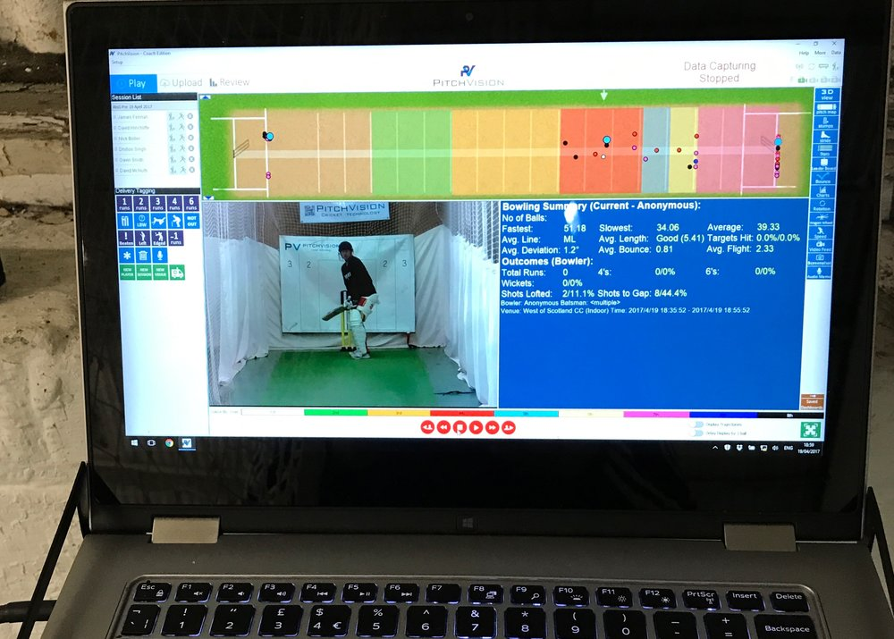 PitchVision video analysis and ball tracking at West of Scotland Cricket Club indoor nets.