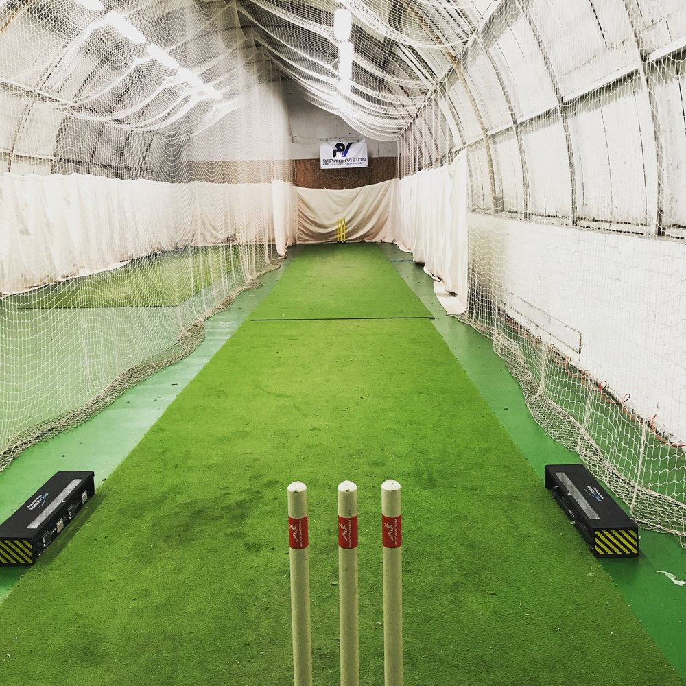 "The ""office"": indoor cricket nets in Glasgow."