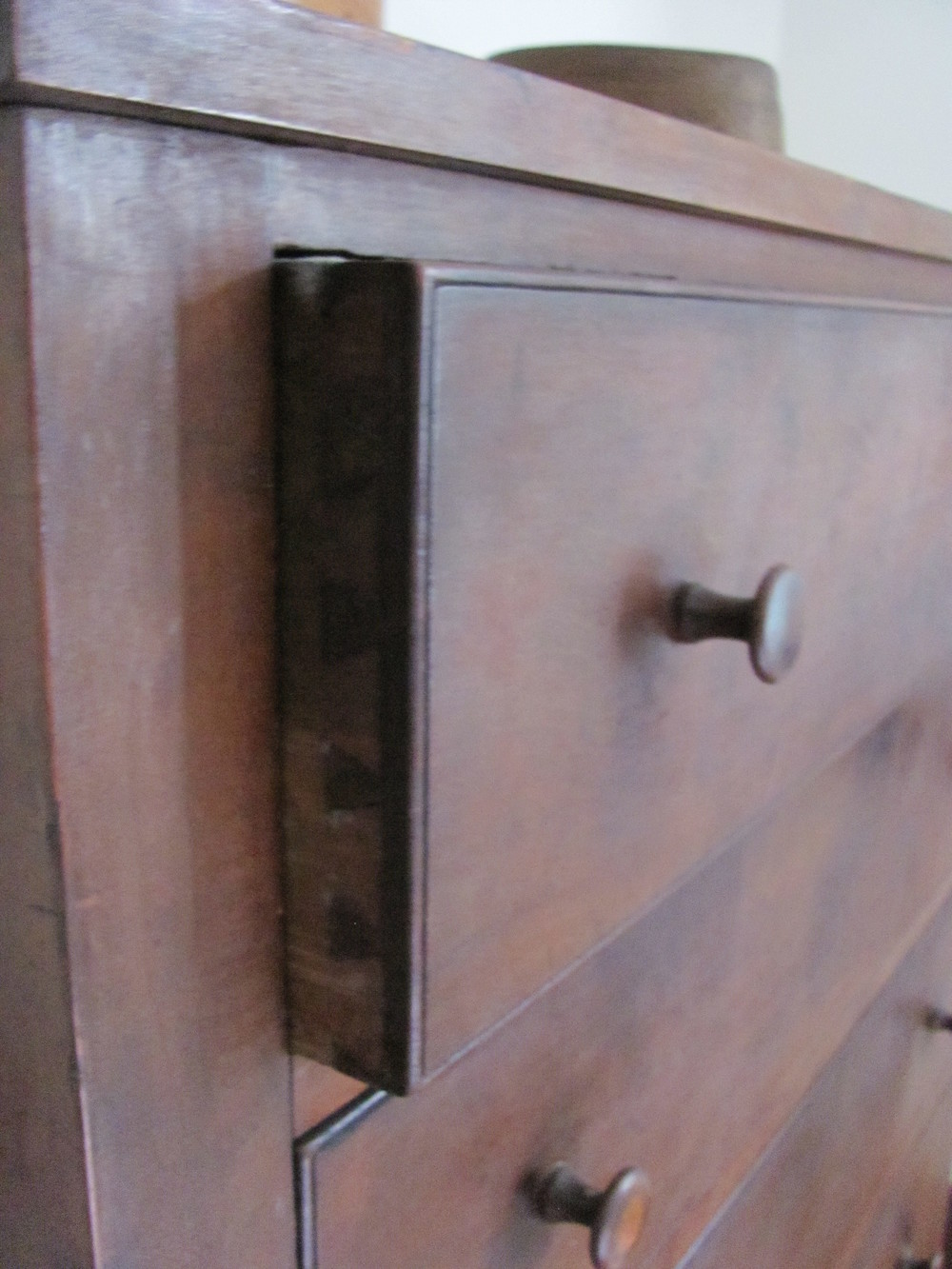 Drawers from a Shaker dresser in the Pleasant Hill Shaker Community, Kentucky. Note the nice bead around the face of the drawer,  with hand-cut half-blind dovetails to join the sides. This furniture is every bit as functional as it was when it was created, circa 1820-1850.