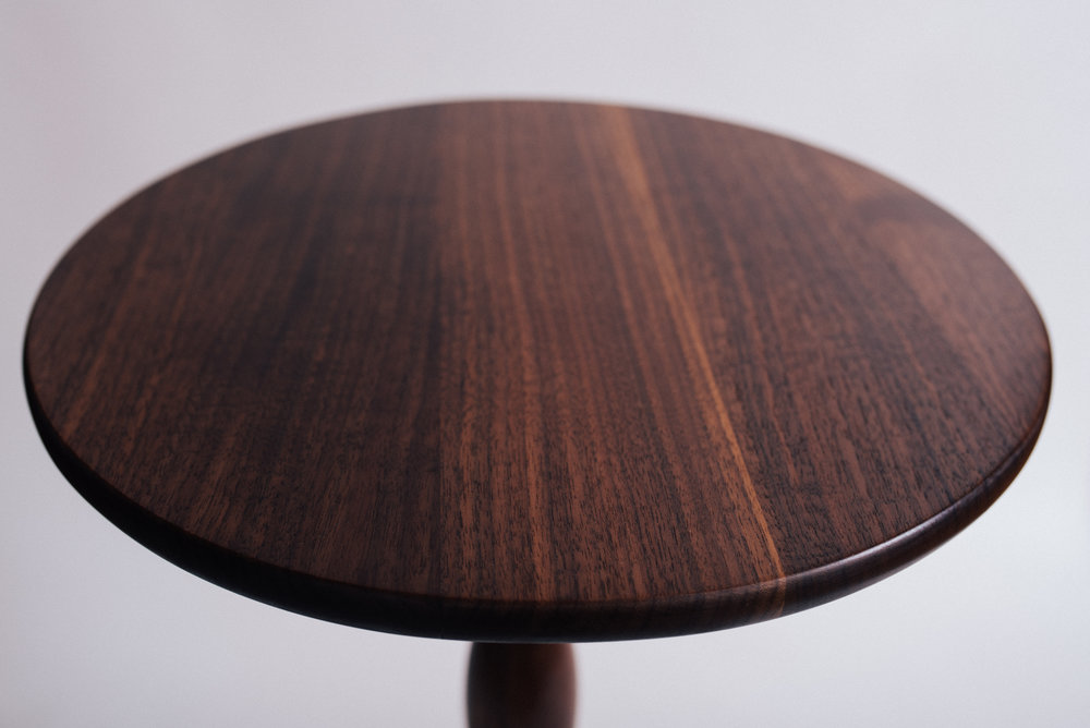 Quarter-sawn black walnut pedestal top