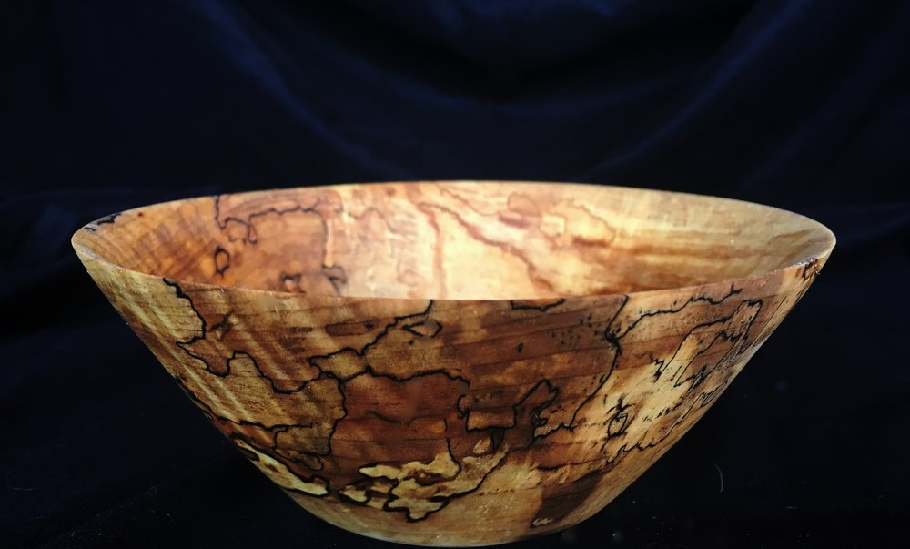 Spalted curly maple bowl