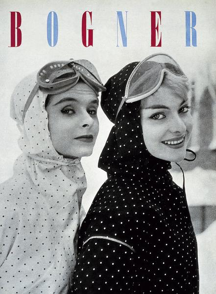 © Bogner Moments 1932 - 2012, On the dot: polka-dot ski jackets with a tailored hood and stylish ski goggles are all the rage for lady skiers from Cortina d'Ampezzo to Colorado, published by teNeues, www.teneues.com. Photo © Willy Bogner GmbH & Co. KGaA