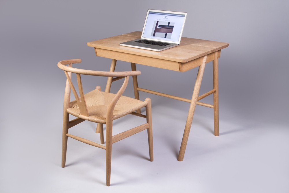 Bespoke commission for oak desk designed and hand crafted by furniture maker Namon Gaston