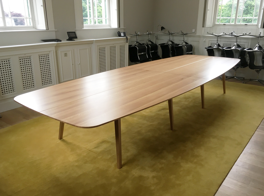 Bespoke commission for large boardroom table hand crafted in oak by furniture designer and maker Namon Gaston