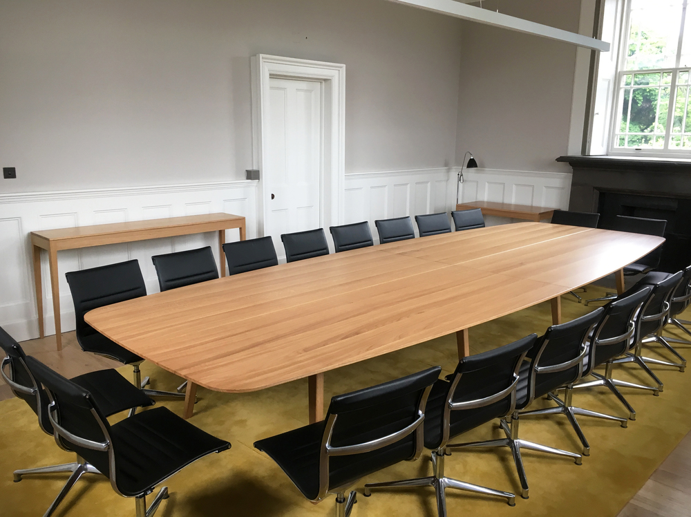 Custom design commission for boardroom table by furniture maker Namon Gaston