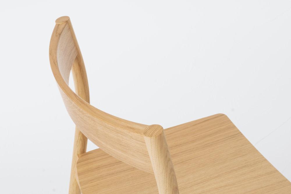 Alma Oak stacking chair detail
