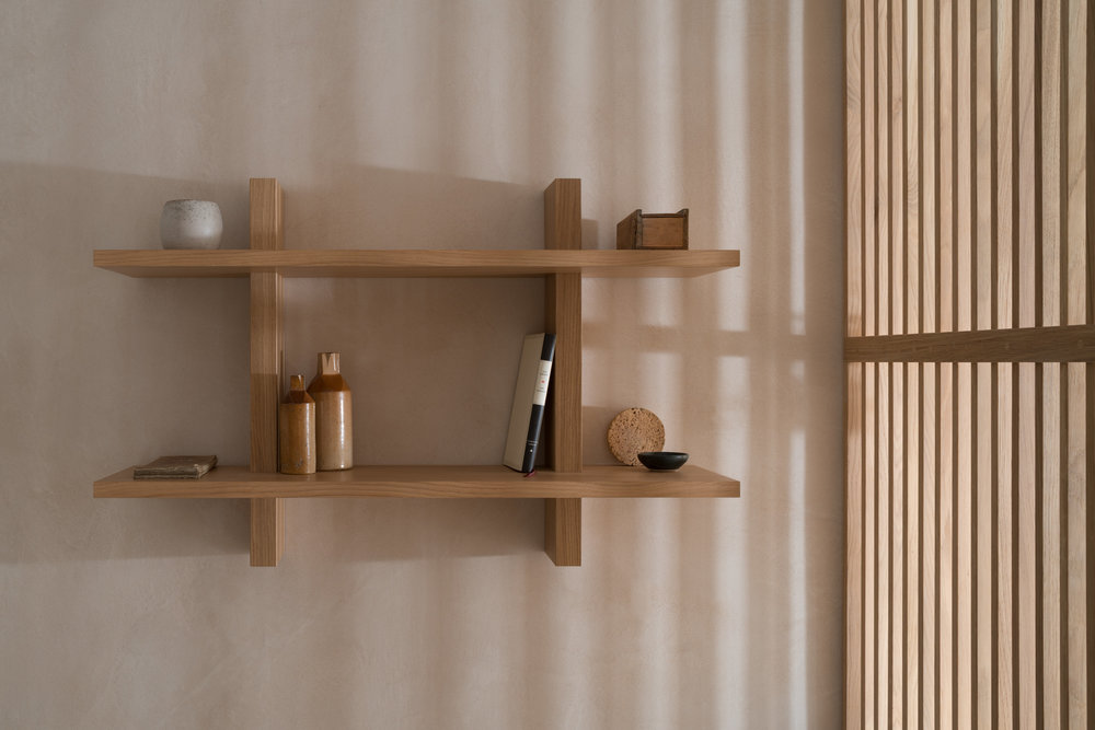 Oak Shelving unit in Porteous' Studio