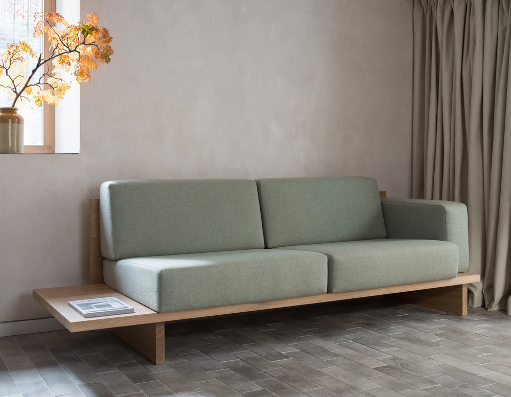 Oak and Upholstered Sofa in Porteous' Studio