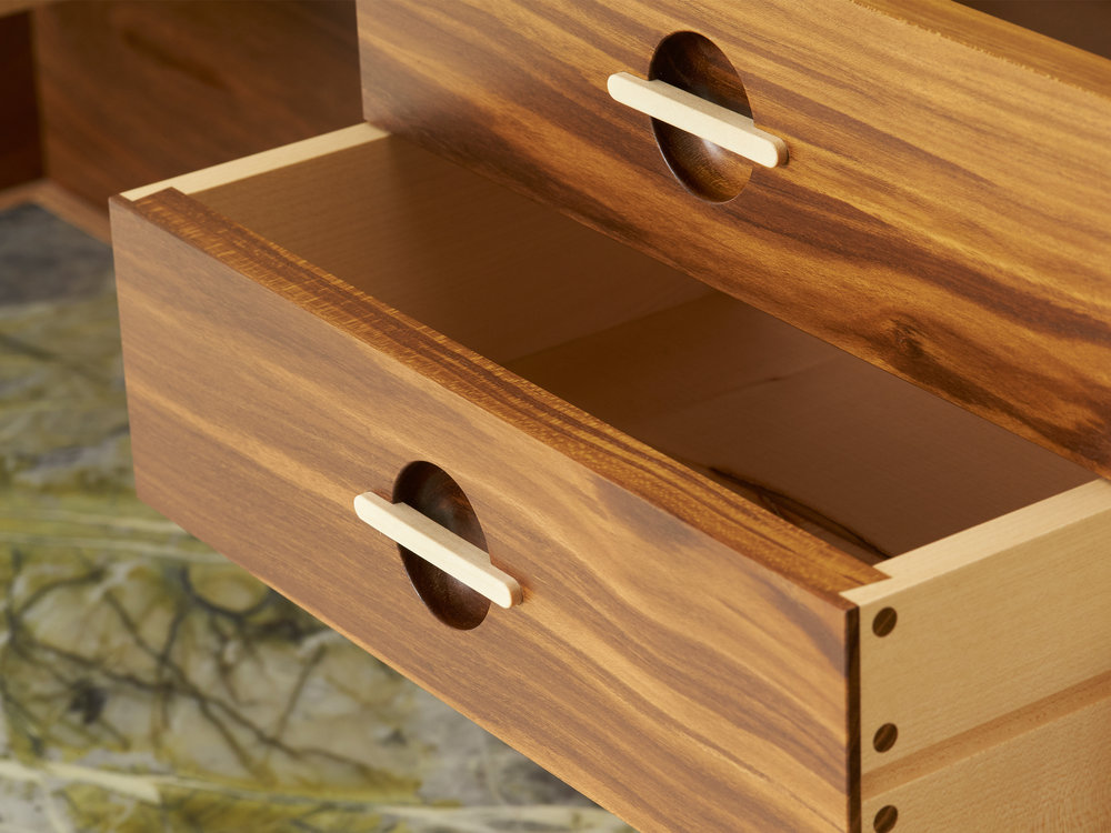 Dovetail Detail in sycamore and laburnum