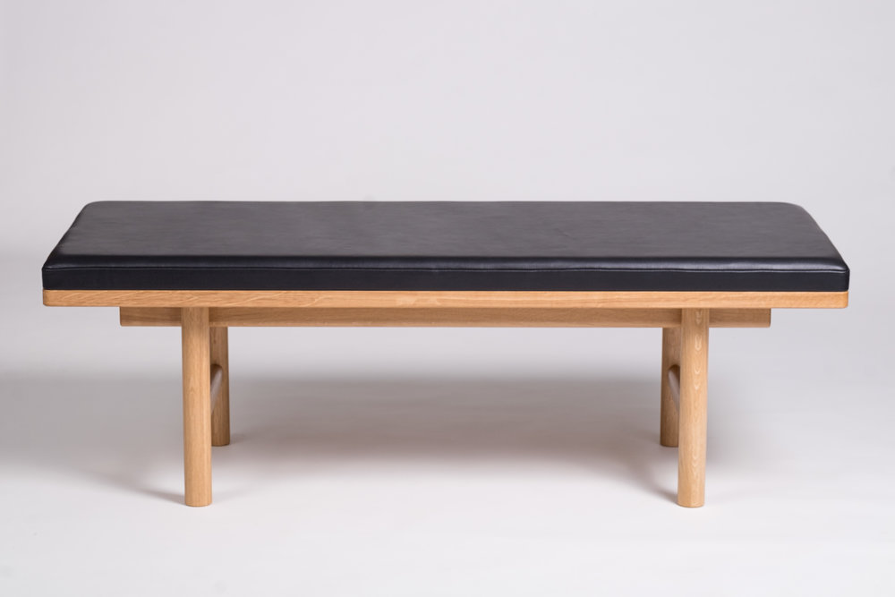 Oak and Swedish leather bench