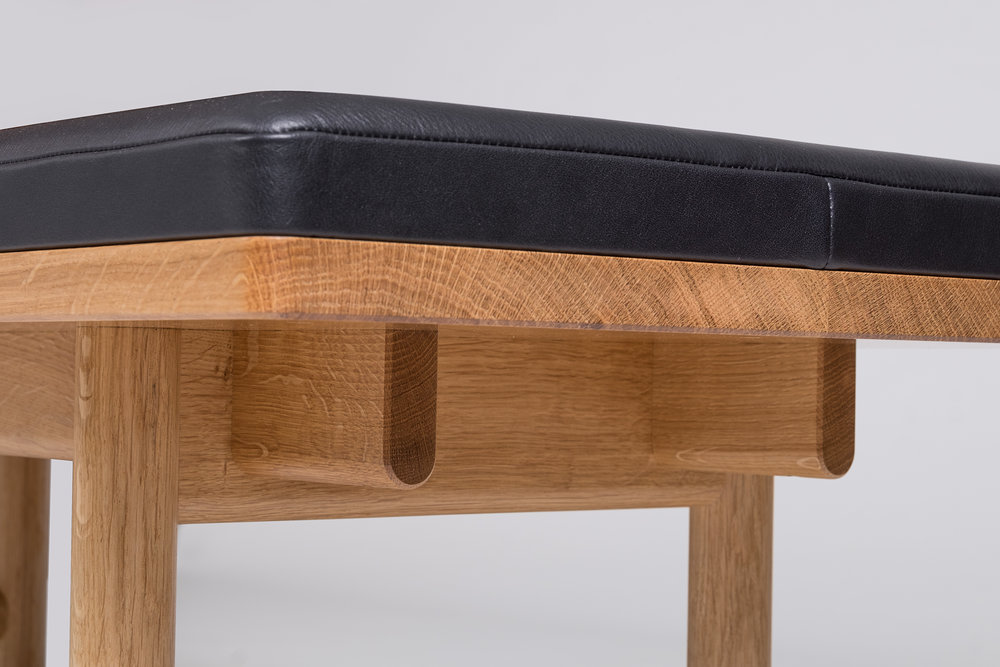 Handmade Oak and Swedish leather bench