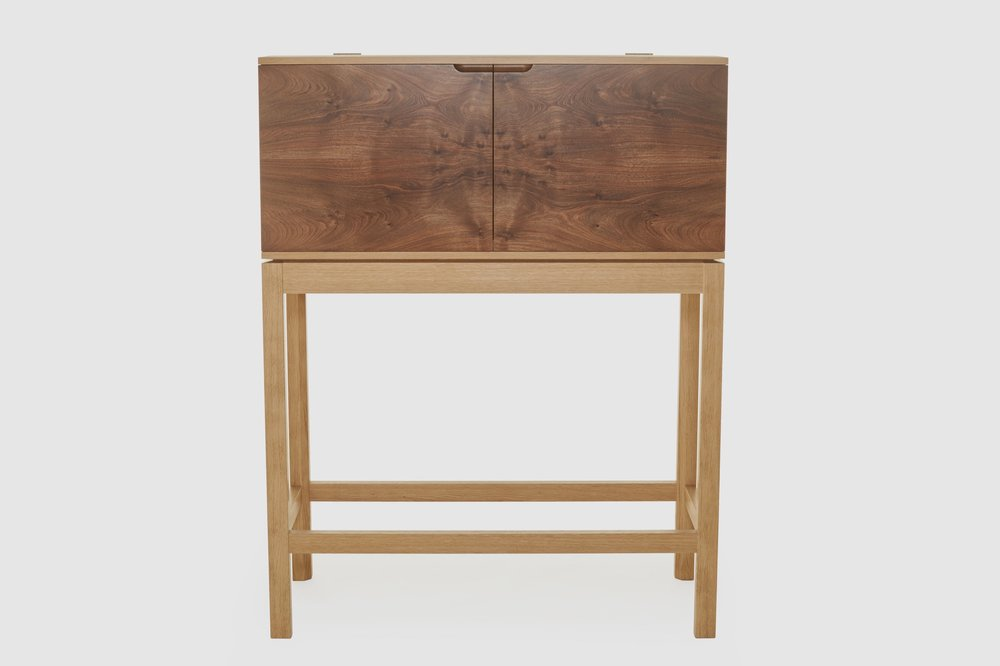 Scottish wood and marble drinks cabinet