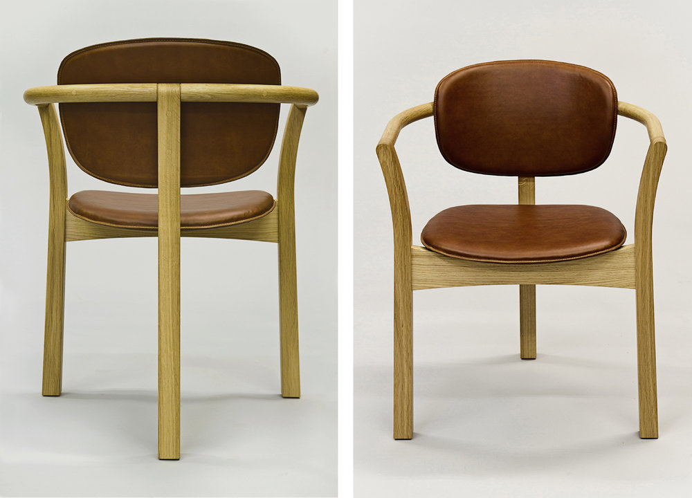 oak and leather dining chair